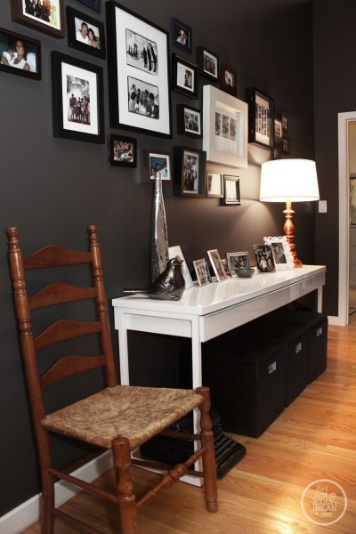 Beautiful hallway gallery wall - love the wall color eclecticallyvintage.com
