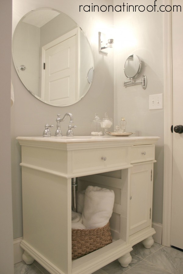 White powder room - great use of space kellyelko.com