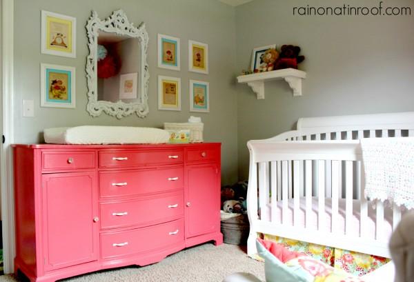 Girls nursery - love the pink dresser makeover kellyelko.com