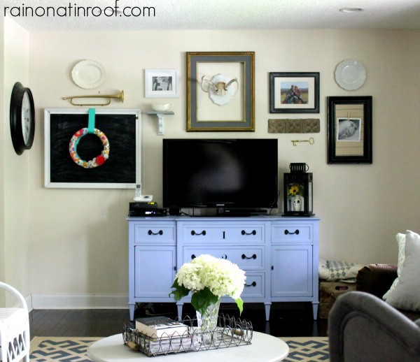 Fun gallery wall - love the unexpected touches like the trumpet kellyelko.com