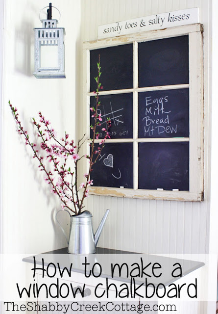 How to make a chalkboard window - one of 12 unique chalkboard ideas kellyelko.com
