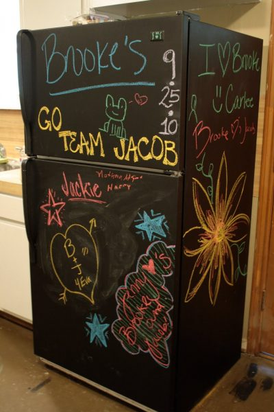Chalkboard refrigerator - one of 12 unique chalkboard ideas kellyelko.com