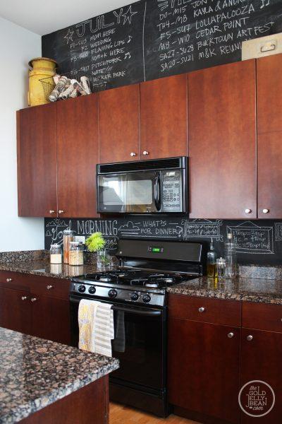 Chalkboard kitchen - what a fun idea!  kellyelko.com