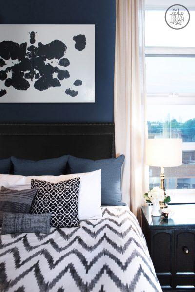 Beautiful master bedroom - love the DIY artwork kellyelko.com