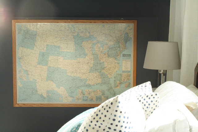 Vintage map in this master bedroom