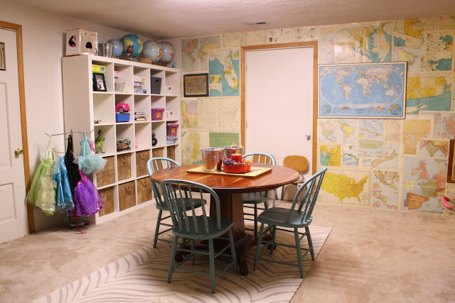 Map wall - fun playroom with great storage ideas