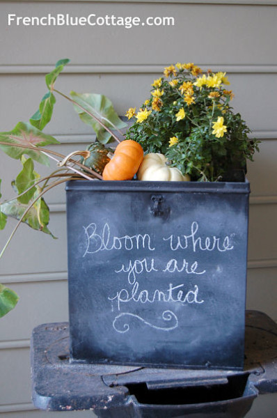 Chalkboard Planter - one of 12 unique chalkboard ideas kellyelko.com