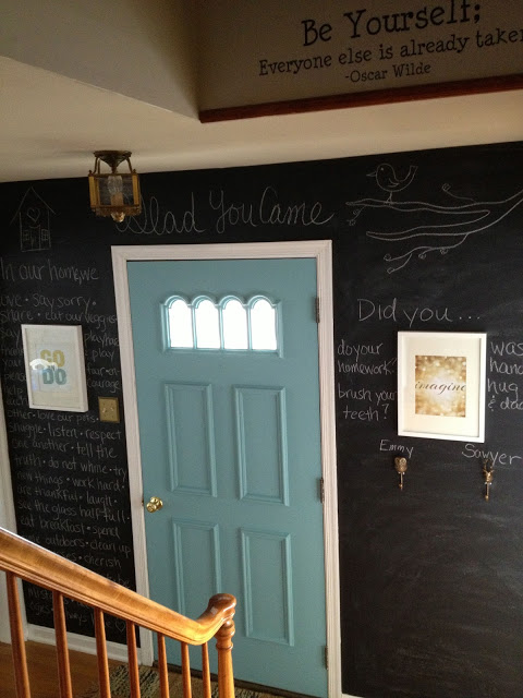 Chalkboard wall - love the quotes