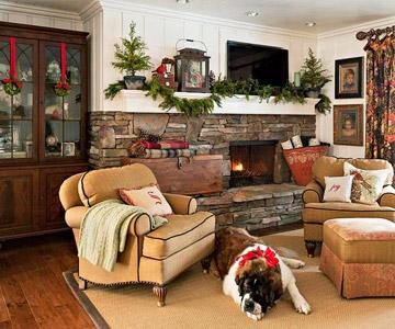 Cozy Christmas family room eclecticallyvintage.com