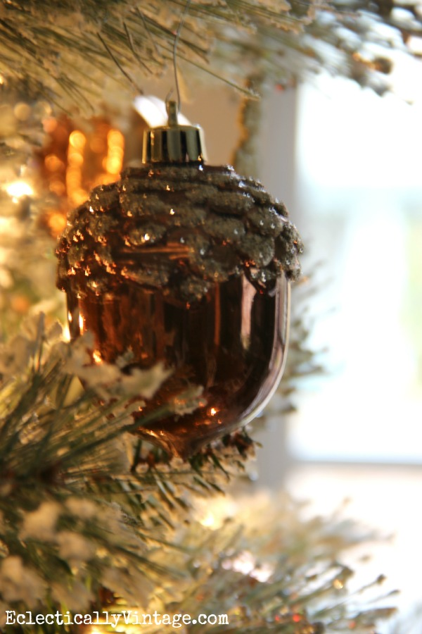 Metallic acorn ornament on this glam tree kellyelko.com