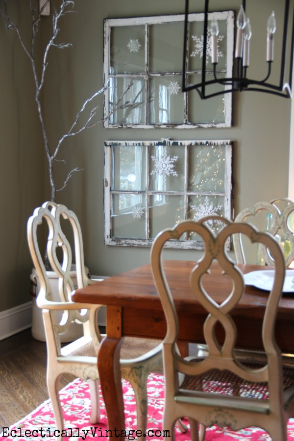 Snowflake windows in this wintry white dining room eclecticallyvintage.com