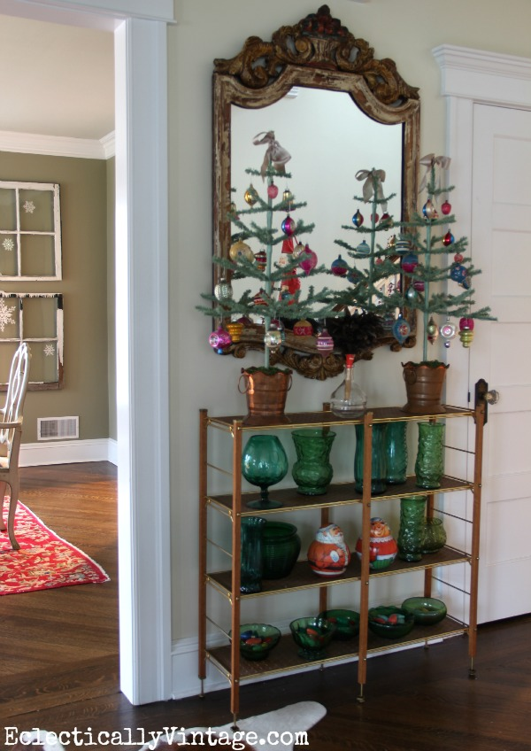 Christmas feather trees - perfect for displaying treasured ornaments eclecticallyvintage.com