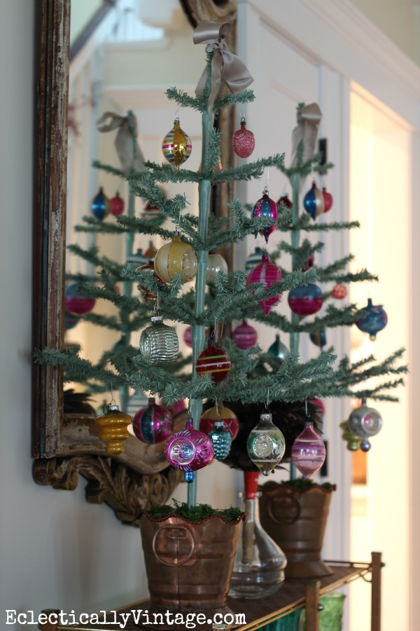 Christmas feather trees perfect for showing off special ornaments eclecticallyvintage.com