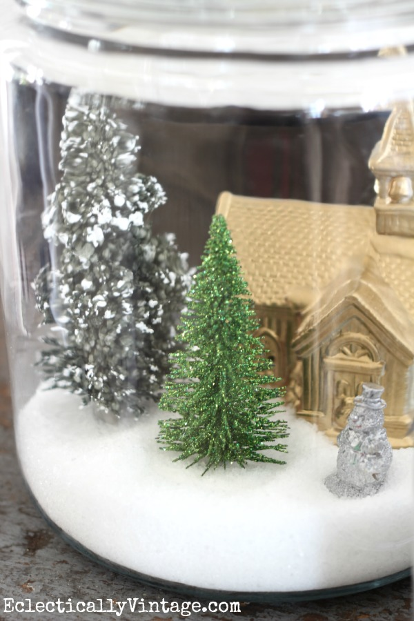 Make a fun Christmas craft - snow globe jars kellyelko.com