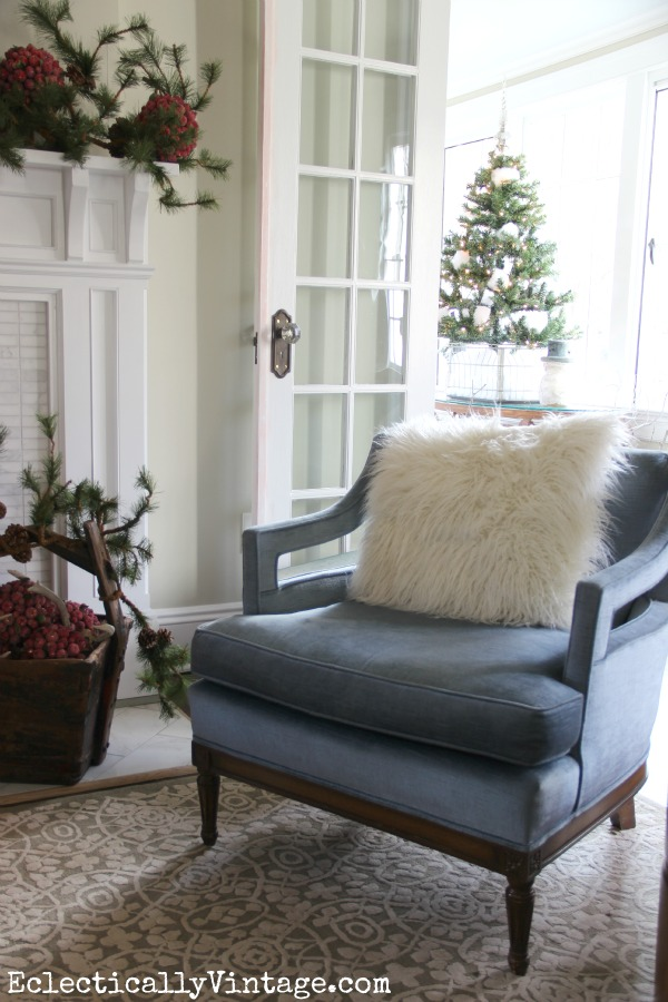 Christmas Living Room - part of this beautiful house tour eclecticallyvintage.com