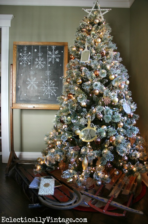 Glam Metallic Christmas Tree - love the unexpected vintage mirrors! kellyelko.com
