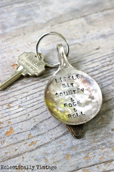 Vintage stamped silver keychain by kellyelko.com