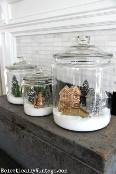 How to make snow village jars eclecticallyvintage.com