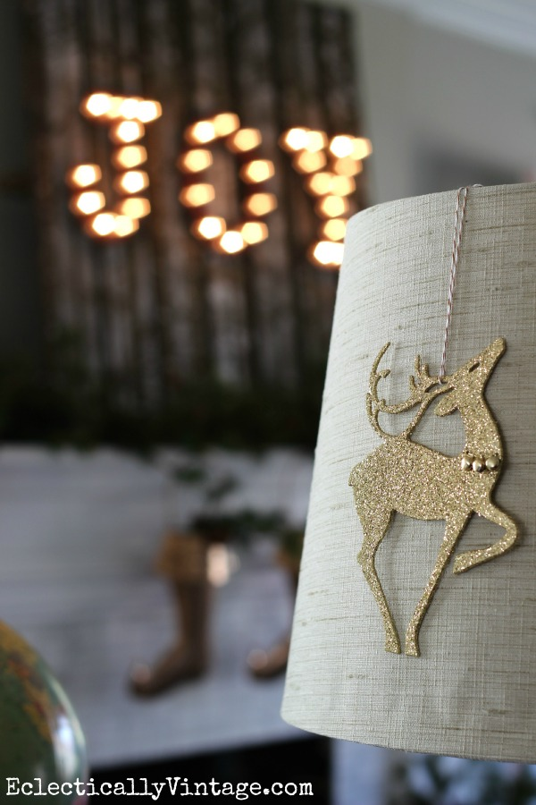 Glittery reindeer ornament - fun lamp decoration eclecticallyvintage.com