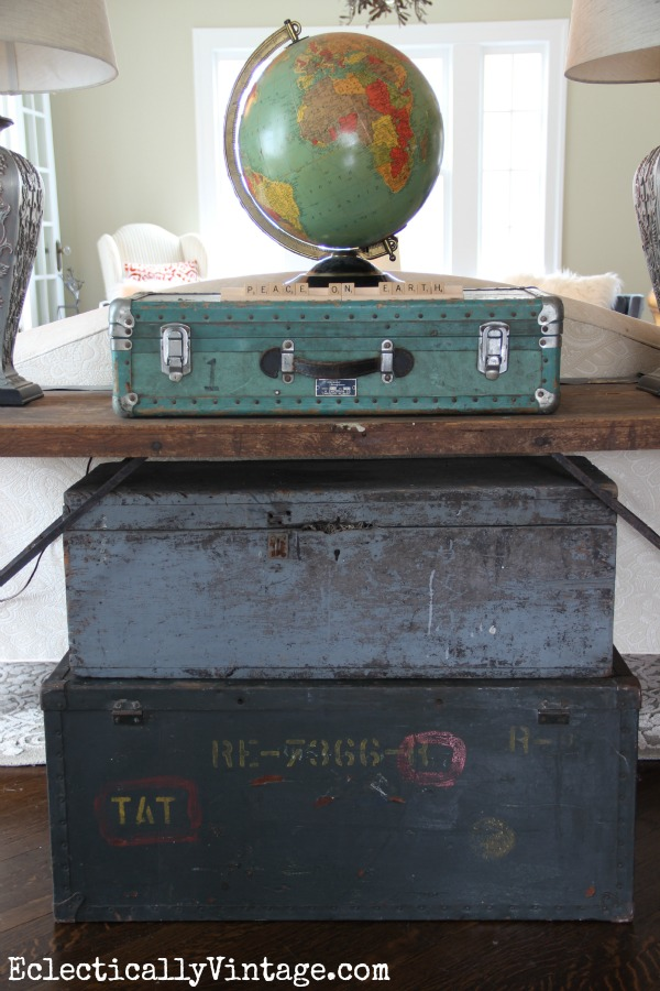 Vintage Trunk Christmas Tree - love the vintage light up globe kellyelko.com
