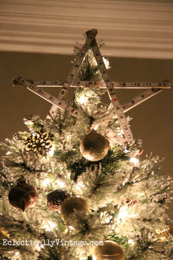 Vintage star tree topper on this glam tree kellyelko.com