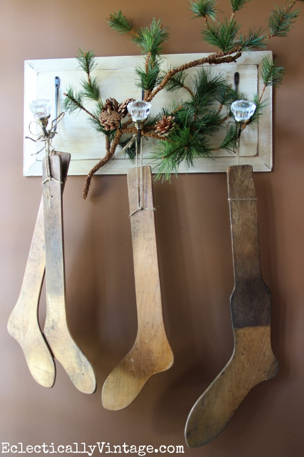 Vintage stocking stretchers make a fun Christmas display eclecticallyvintage.com