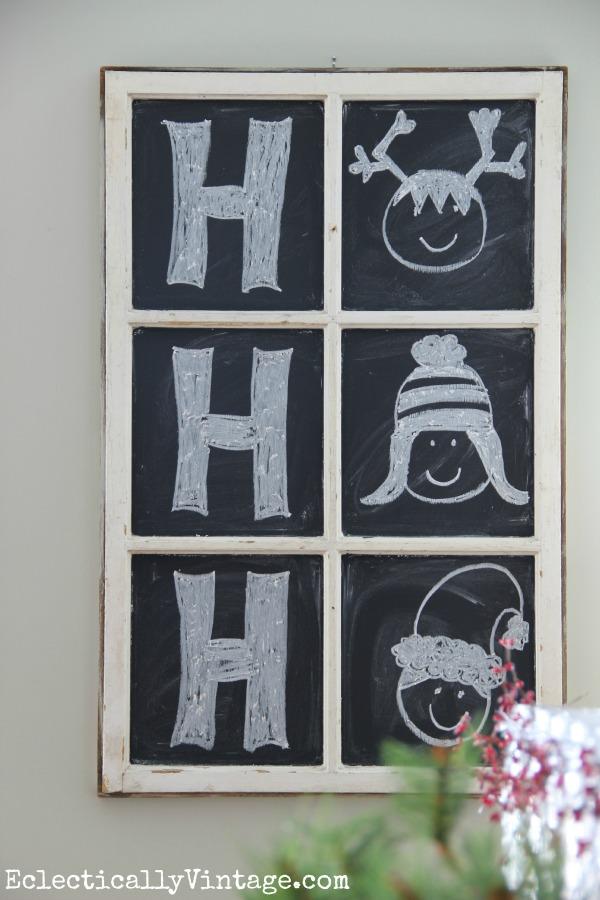 Chalkboard window - Ho Ho Ho! eclecticallyvintage.com