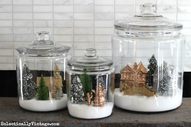 How to make winter village snow jars kellyelko.com