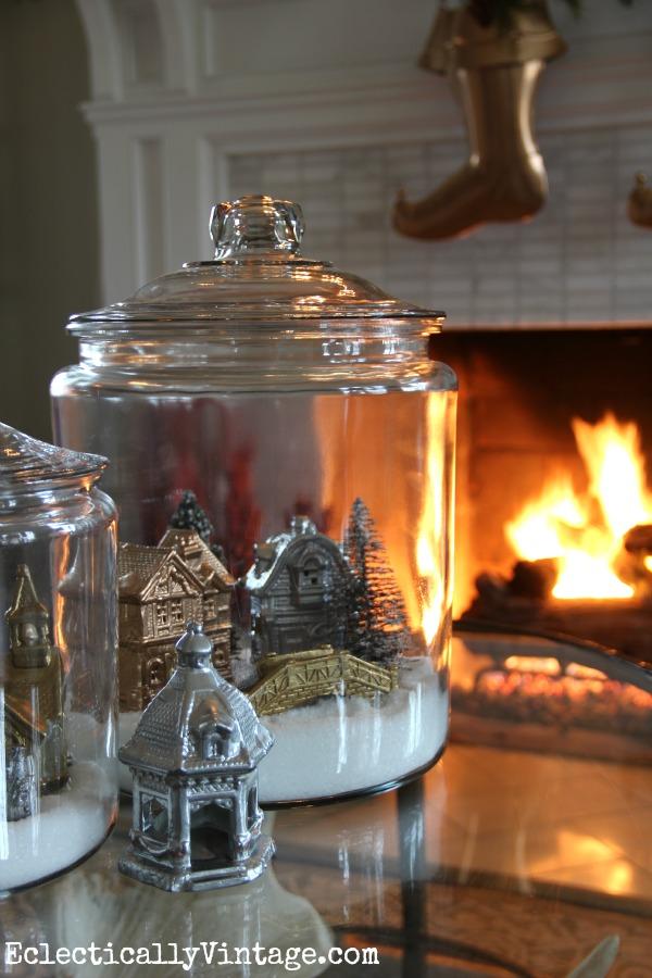 Make winter snow village jars eclecticallyvintage.com