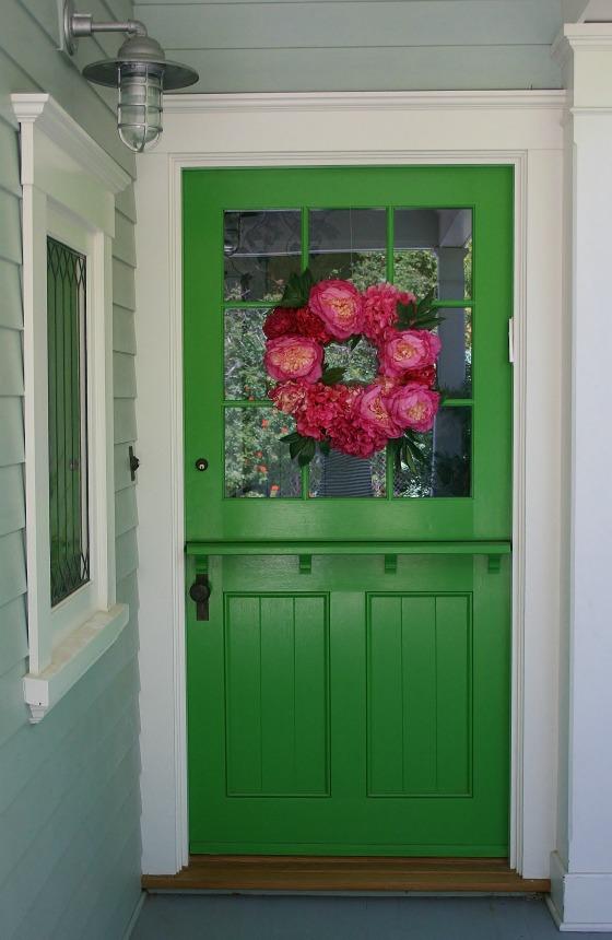 California cottage tour - love the green dutch door kellyelko.com