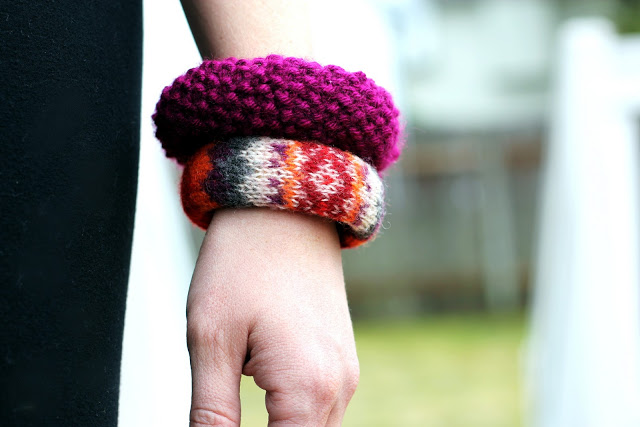 Make these sweater bangle bracelets