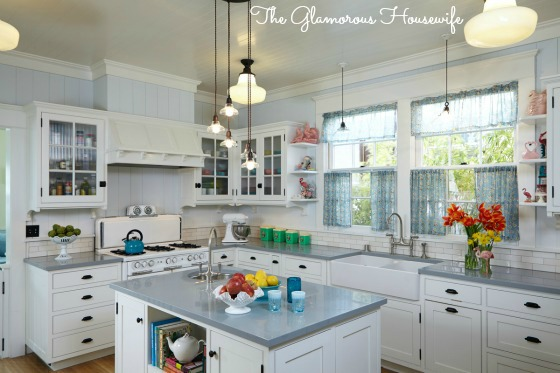 White cottage kitchen and house tour featured at kellyelko.com