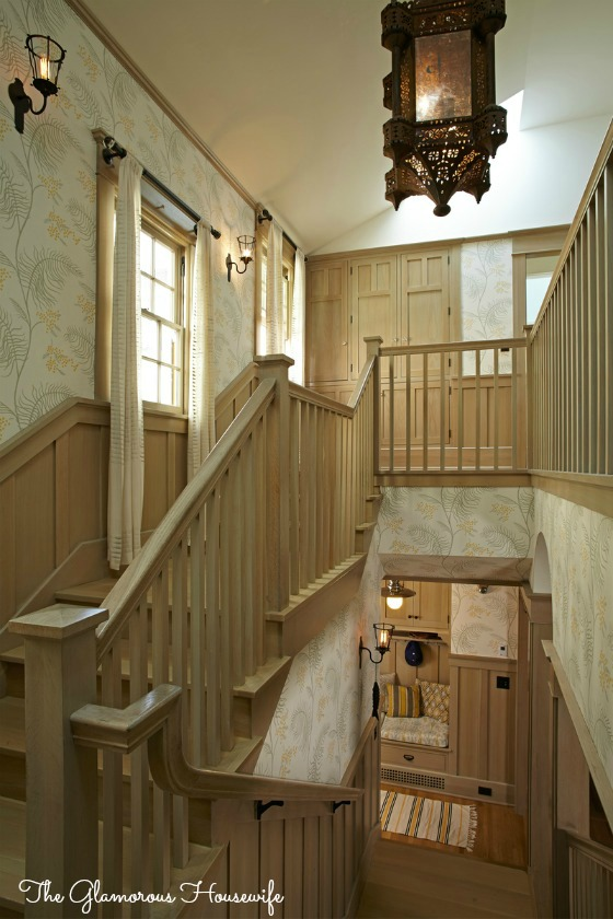 Statement staircase of The Glamourous Housewife featured at kellyelko.com