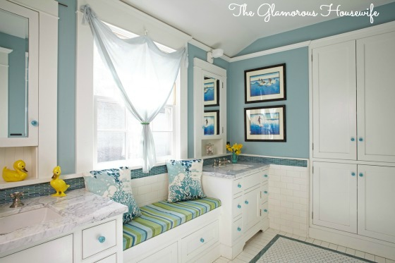 Kids bathroom in blues and greens featured at kellyelko.com