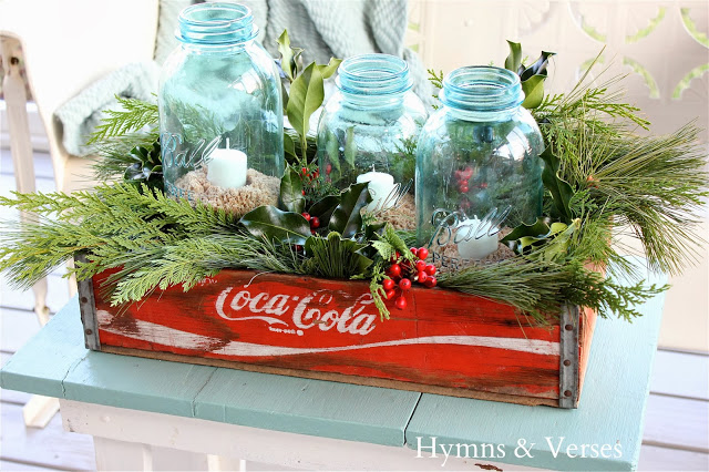 Vintage Coke crate at Christmas