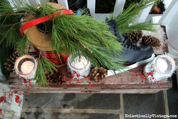 Welcoming winter porch - love the little details eclecticallyvintage.com