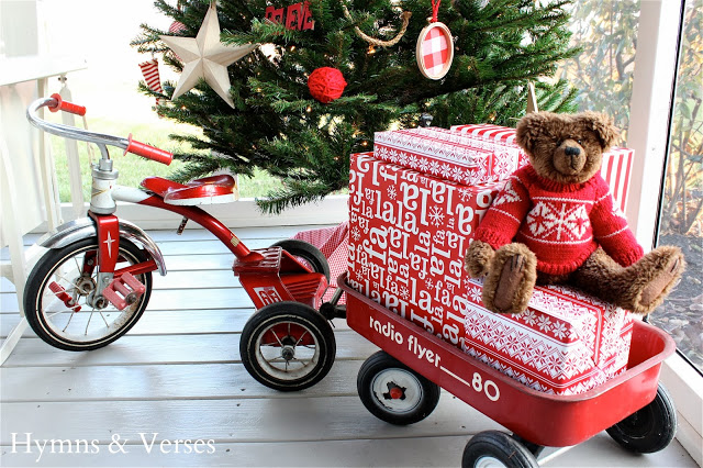 Christmas Red Tricycle & Wagon