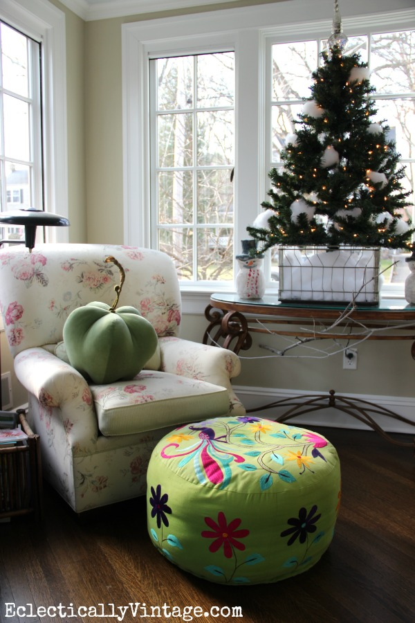 Christmas in the Sunroom - love the little snowball tree in the crate eclecticallyvintage.com