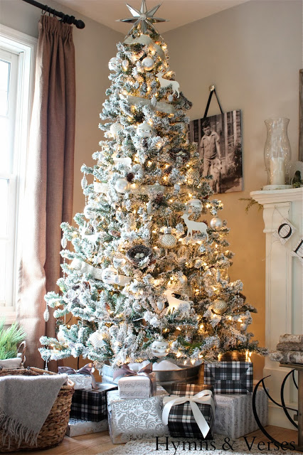 Flocked Christmas tree - part of this Christmas house tour