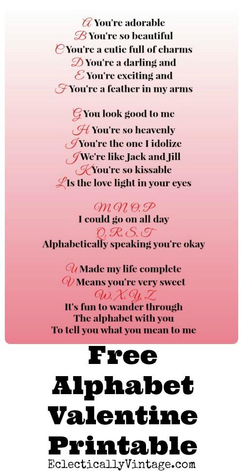 Alphabet Song Free Valentine Printables - I LOVE this! kellyelko.com