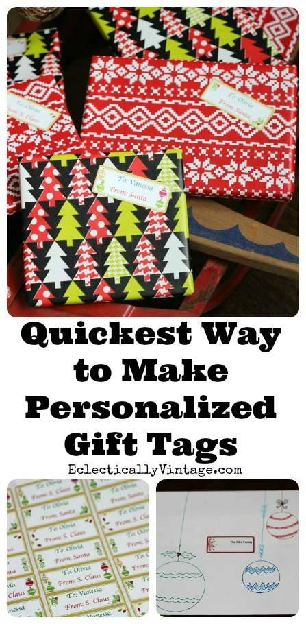 Quickest way to make personalized printable gift tags! kellyelko.com