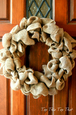burlap wreath giveaway via Knick of Time