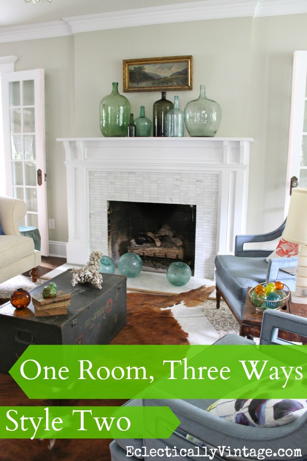 One Room, Three Ways - 3 completely different looks & no money spent! eclecticallyvintage.com