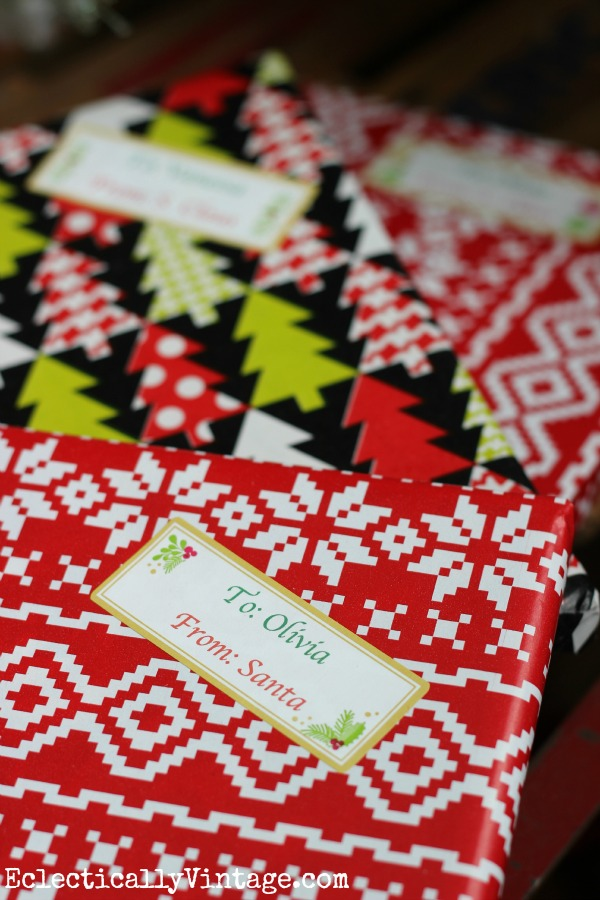 Easy way to quickly label lots of Christmas gifts kellyelko.com
