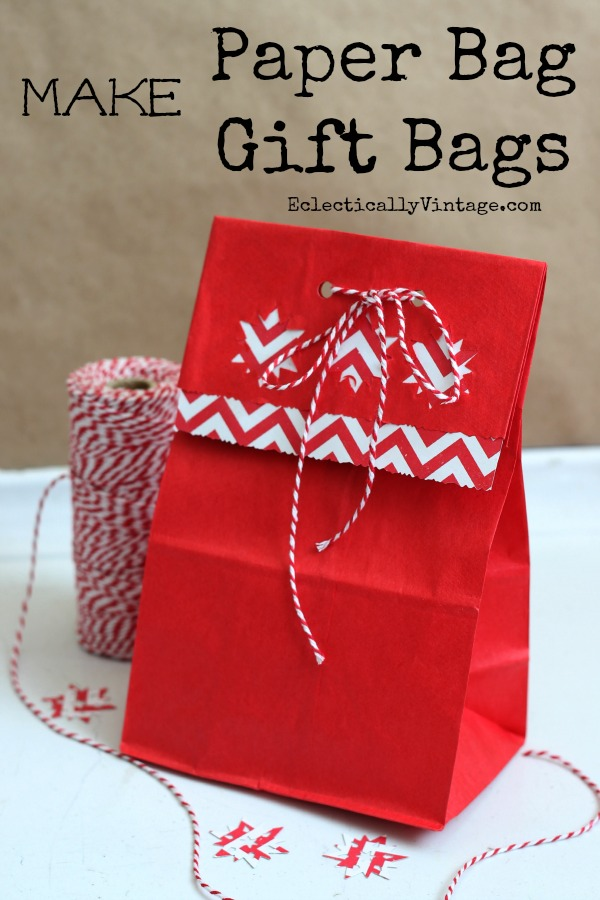 How to make gift or treat bags from paper lunch bags - so cute!  kellyelko.com