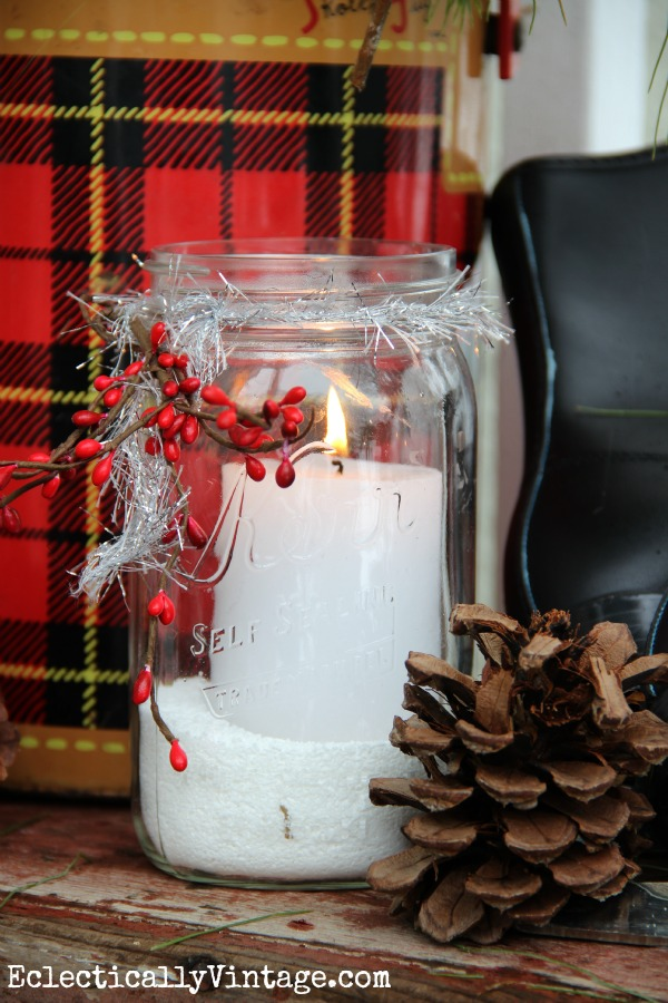 Snowy mason jar candle - fun on this winter porch eclecticallyvintage.com