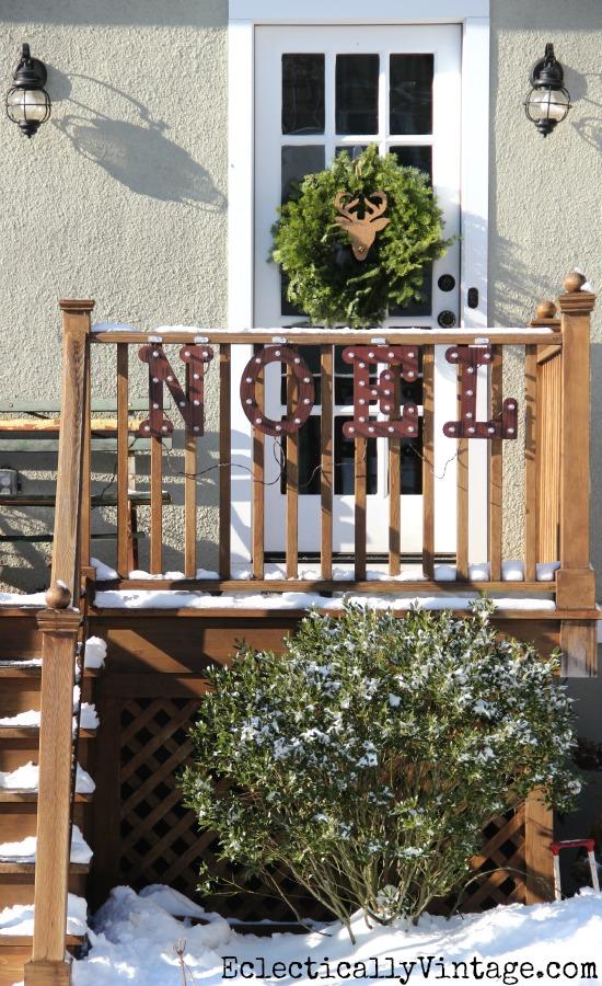 #ad Outdoor Christmas Decorations - love the noel marquee sign! #DamageFreeDIY kellyelko.com