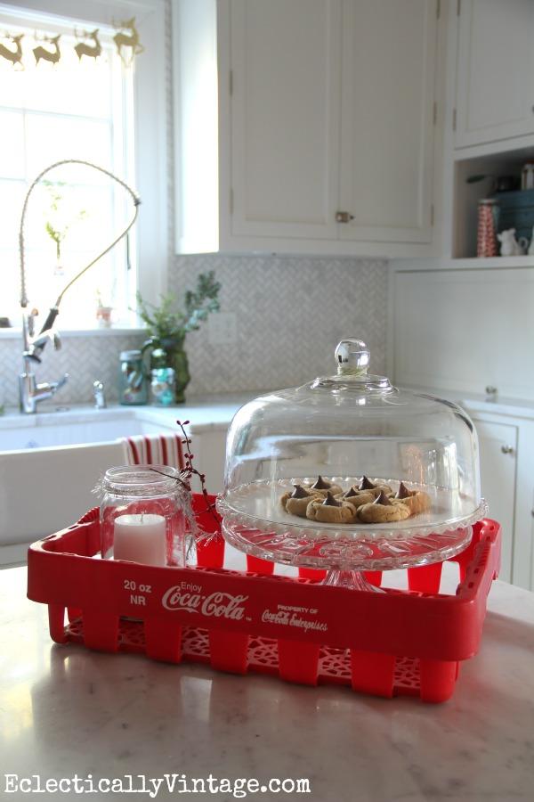 Vintage Coke crate and Christmas kitchen tour kellyelko.com