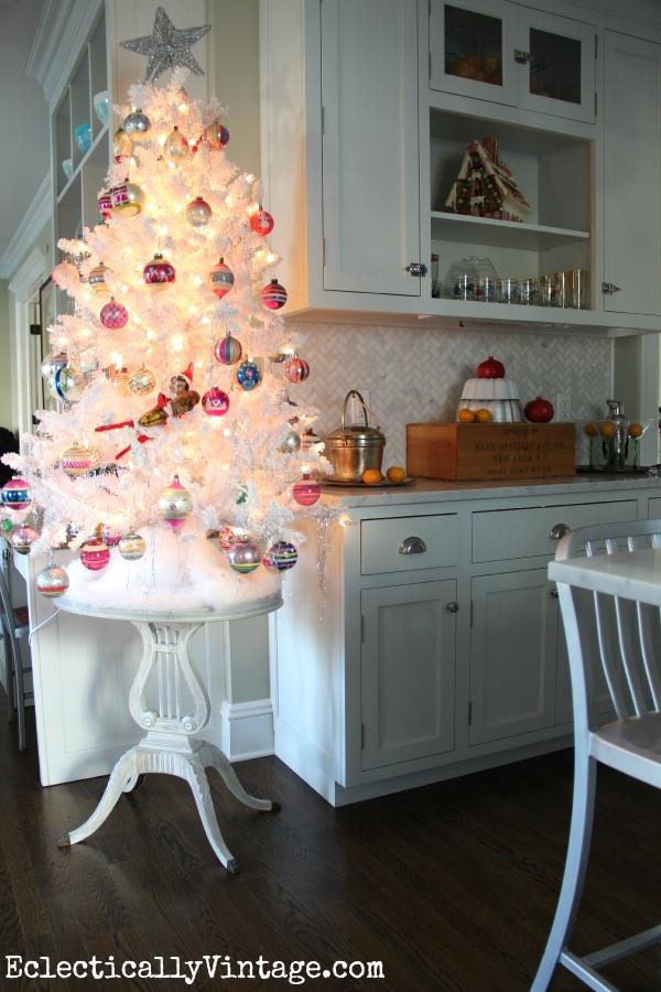 Christmas Kitchen - love the white Shiny Brite tree!  kellyelko.com