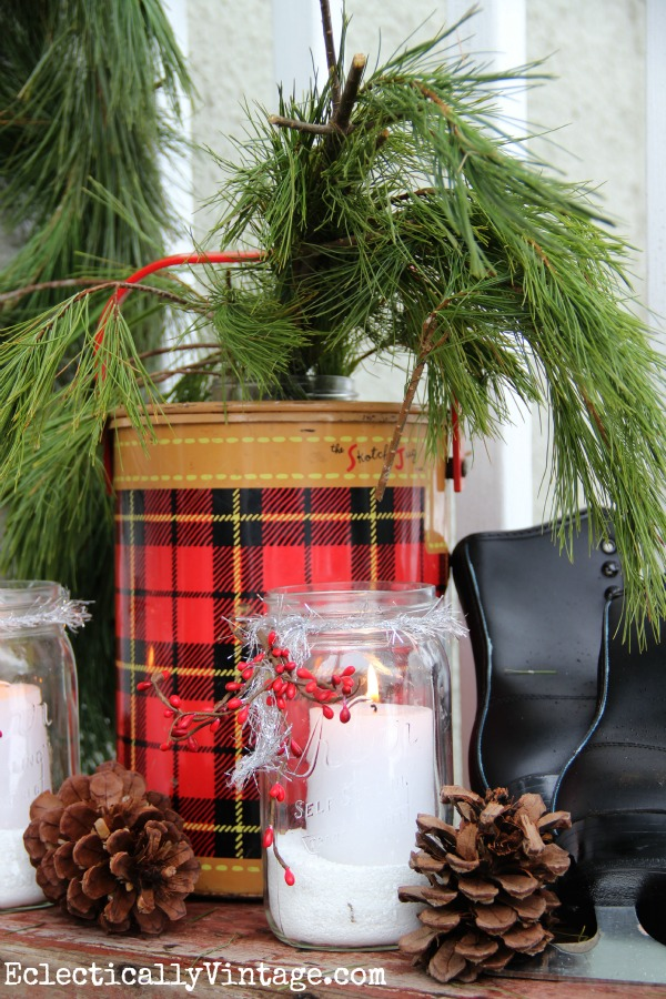 Vintage winter porch - love the old tartan cooler kellyelko.com